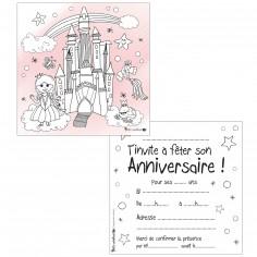 Lot de 10 cartes d'invitations à colorier princesse