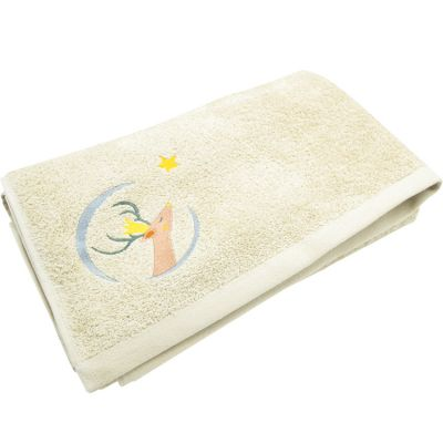 Serviette de bain jaune pâle Daim personnalisable (70 x 140 cm)  par L'oiseau bateau