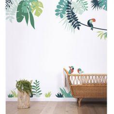 Grand sticker feuilles tropicales tête perroquet à droite (119 x 121 cm)