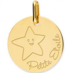 Médaille Petite Etoile personnalisable (or jaune 750°)