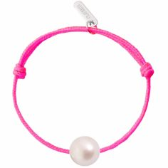 Bracelet enfant Baby Pearly cordon rose fuchsia perle blanche 7 mm (or blanc 750°)