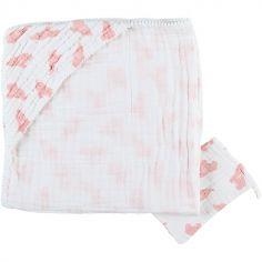 Cape de bain + gant en mousseline de coton Eléphant rose (75 x 75 cm)