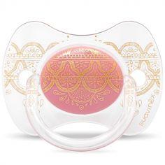 Sucette anatomique réversible Couture Ethnic rose et doré en silicone (4-18 mois)