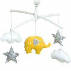 Mobile musical éléphant jaune moutarde (7 mélodies au choix)