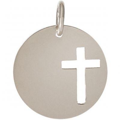 Médaille Léo croix ajourée personnalisable 16,5 mm (or blanc 750°)  par Je t'Ador