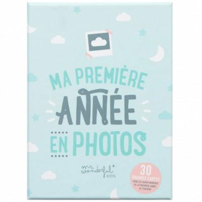 Lot de 30 cartes souvenir bébé Ma première année en photo