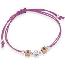 Bracelet cordon magenta 2 cubes fille 1 cube coeur (or rose 375° et argent 925°)  par leBebé