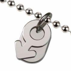 Collier sur chaîne boule symbole garçon (argent 925°)