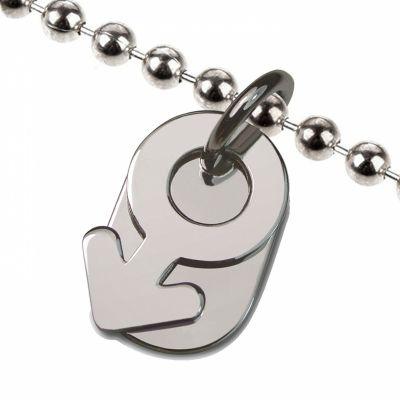 Collier sur chaîne boule symbole garçon (argent 925°)  par Mikado