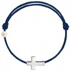 Bracelet cordon Croix et perle bleu marine (or blanc 750°)