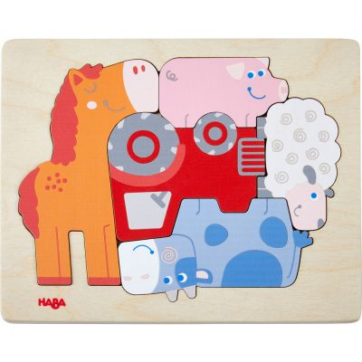 Puzzle à encastrement Animaux de la ferme (5 pièces)  par Haba