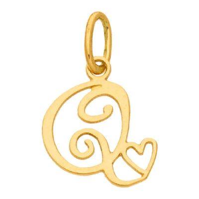 Pendentif initiale Q (or jaune 750°)  par Berceau magique bijoux