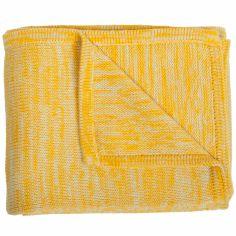 Couverture tricot coton jaune et beige (120 x 150 cm)