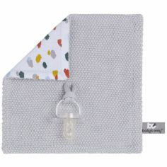Doudou attache sucette Leaf gris