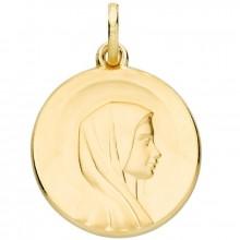 Médaille ronde Vierge auréolée 18 mm (or jaune 750°)  par Berceau magique bijoux