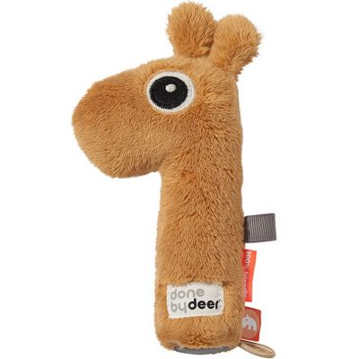 Hochet pouët Raffi la girafe moutarde (17 cm)  par Done by Deer