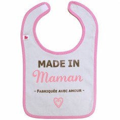 Bavoir à velcro Made in Maman gris et rose