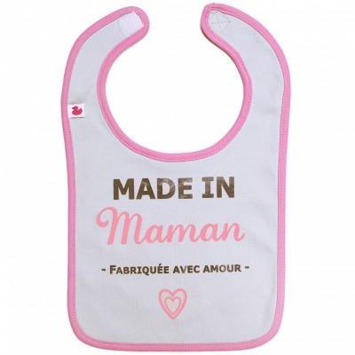 Bavoir à velcro Made in Maman gris et rose  par BB & Co