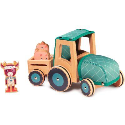 Tracteur en bois Rosalie la vache  par Lilliputiens