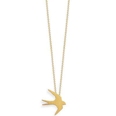 Collier chaîne 40 cm pendentif Nature hirondelle 13 mm (vermeil doré)  par Coquine