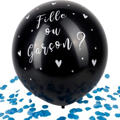 Ballon géant Gender reveal Garçon confettis bleus  par Arty Fêtes Factory