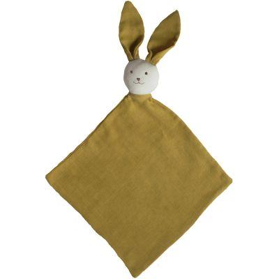 Doudou plat en coton bio Ernest jaune safran  par Luciole et Cie