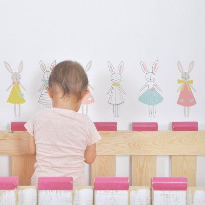 Stickers A3 lapins fille Sweet Bunnies by Flora Waycott (29,7 x 42 cm)  par Lilipinso
