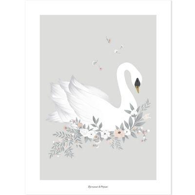 Affiche Le Cygne Grace gris (30 x 40 cm)  par Lilipinso