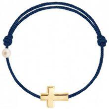 Bracelet cordon Croix et perle bleu marine (or jaune 750°)  par Claverin