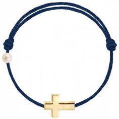 Bracelet cordon Croix et perle bleu marine (or jaune 750°)