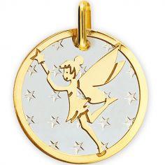 Médaille Fée étoiles personnalisable (acier et or jaune 750°)