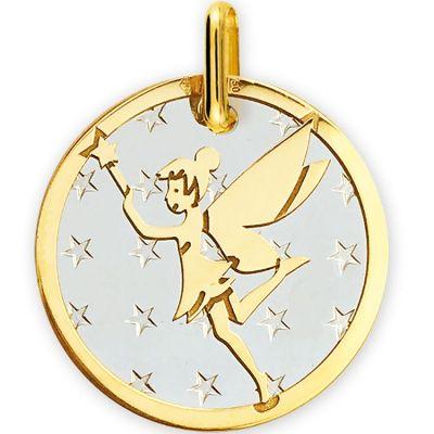 Médaille Fée étoiles personnalisable (acier et or jaune 750°)  par Lucas Lucor