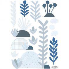Stickers feuilles et rochers bleu (29,7 x 42 cm)