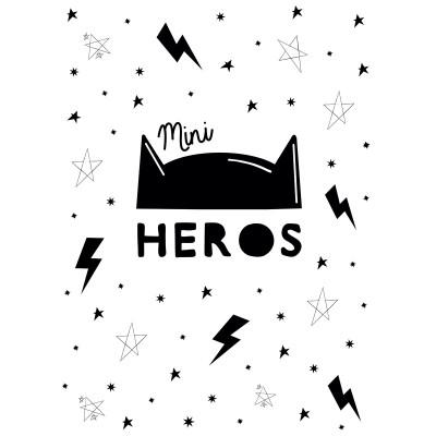 Affiche Mini Héros noir et blanc (30 x 40 cm)  par BB & Co