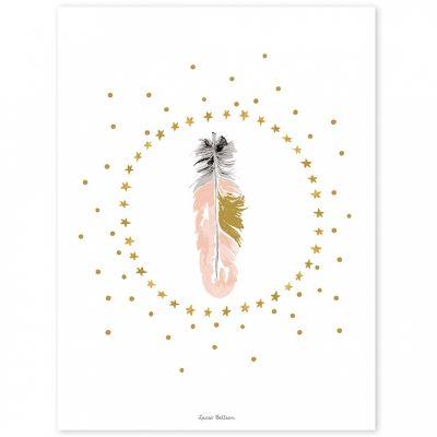 Affiche plume rose Flamingo by Lucie Bellion (30 x 40 cm)  par Lilipinso