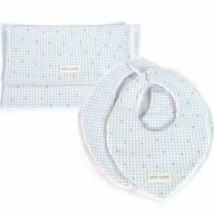 Coffret cadeau pochette et 2 bavoirs bandanas Petite Etoile vichy bleu