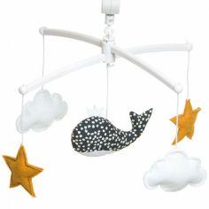 Mobile musical baleine bleu nuit (mélodie au choix)
