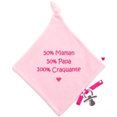 Doudou plat attache sucette 100% craquante rose BB & Co