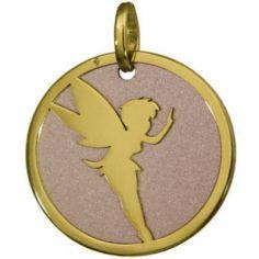 Pendentif motif fée fond rose 16 mm (or jaune 750° et acier)