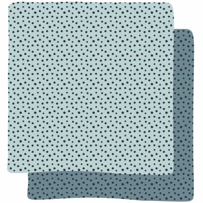 Lot de 2 langes Happy Dots bleu (70 x 70 cm)   par Done by Deer