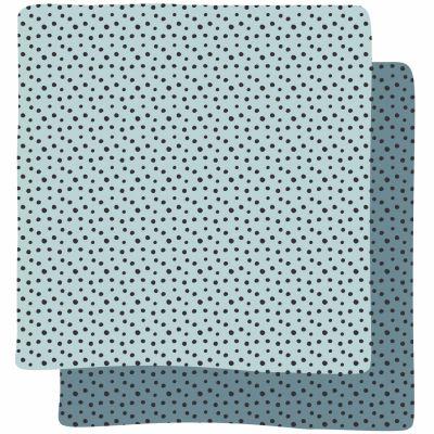 Lot de 2 langes Happy Dots bleu (70 x 70 cm)   par Done by Deer
