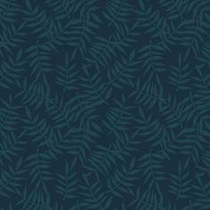 Papier peint motif feuillage bleu sombre (10 m)