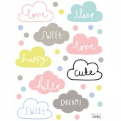Stickers nuages multicolores by Aless Baylis (18 x 24 cm) - Lilipinso