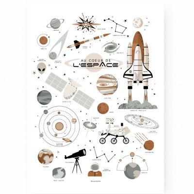 Affiche A2 Au coeur de l'espace  par Lutin Petit Pois