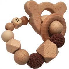 Anneau de dentition en bois Ours chocolat et vanille (personnalisable)