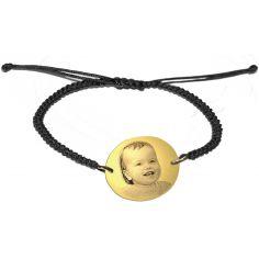 Bracelet macramé avec photogravure 1 visage (plaqué or)