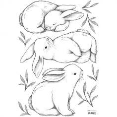 Planche de stickers 3 lapins