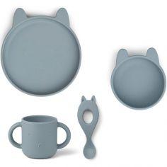 Coffret repas en silicone Vivi Lapin sea blue (4 pièces)