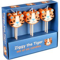 Lot de 6 bougies d'anniversaire Ziggy le tigre