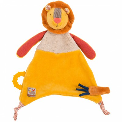 Doudou attache sucette lion Les Papoum Moulin Roty